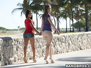 Those two broads have massive ass for days. Briella is a hot little Latin chick that takes it in the can and Jynx hales from Texas where apparently massive asses grow on tree's.