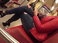 tall curvy woman in metro