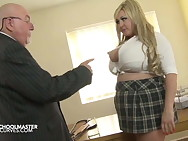 Breasty Leah Jayne with a pervy Schoolmaster