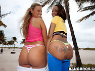 We got one vanilla botty (Jessica Marie) & one chocolate booty (Eva Taylor). You gota love that! We meet up with Champ at the beach in this episode and he's with two fine pieces of culo when we get th